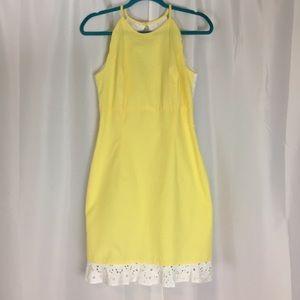 Lauren James seersucker yellow white eyelet dress